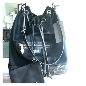 MZ Wallace Rome Bag Black and Mineral Bucket Bag